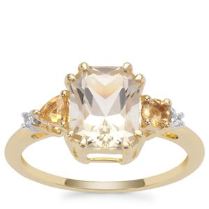 Serenite, Diamantina Citrine Ring with White Zircon in 9K Gold 2.31cts