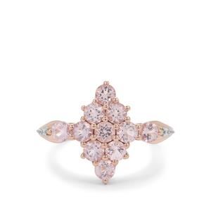 Pink Morganite Ring with White Zircon in 9K Rose Gold 1.10cts