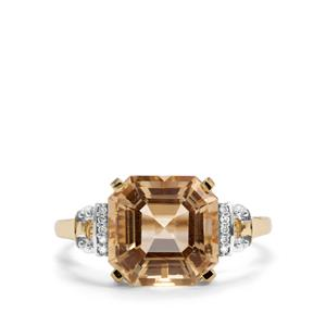 Asscher Cut Serenite & Diamond 10K Gold Ring ATGW 4.17cts