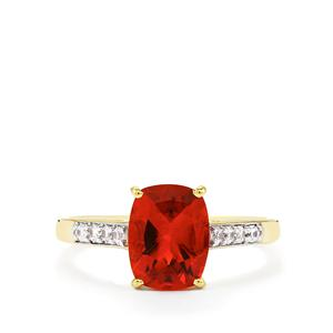 Tarocco Red Andesine Ring with White Zircon in 9K Gold 1.79cts