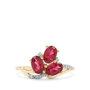 Cruzeiro Rubellite Ring with Diamond in 9K Gold 1.35cts