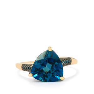 Marambaia London Blue Topaz Ring with Blue Diamond in 10K Gold 4.22cts