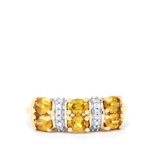 Ambilobe Sphene Ring with White Zircon in 9K Gold 1.20cts