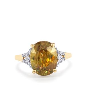 Ambilobe Sphene & Diamond 18K Gold Lorique Ring MTGW 5.91cts
