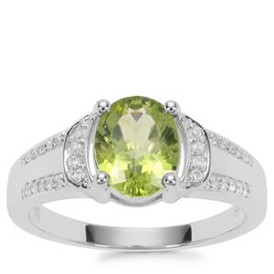 Changbai Peridot Ring with White Zircon in Sterling Silver 3.07cts