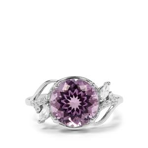Rose De France Amethyst & White Zircon Sterling Silver Ring ATGW 4.19cts