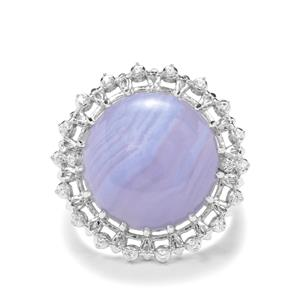 Blue Lace Agate & White Zircon Sterling Silver Ring ATGW 14.78cts