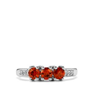 Cognac Zircon Ring with White Topaz in Sterling Silver 1.26cts