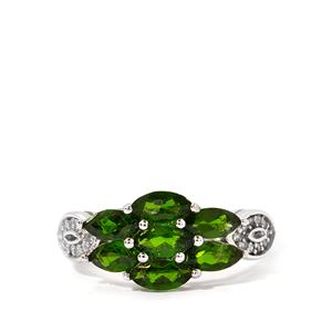 Chrome Diopside & White Topaz Sterling Silver Ring ATGW 2.50cts