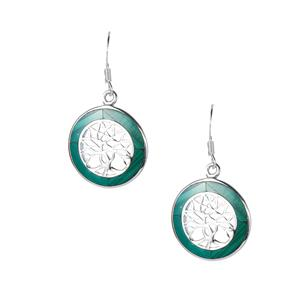 5ct Malachite Sterling Silver Tree of Life Earrings