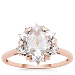 Wobito Snowflake Cut Itinga Petalite Ring with Diamond in 9K Rose Gold 3.76cts