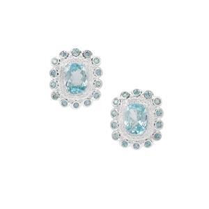 Ratanakiri Blue Zircon and White Zircon Earrings in Sterling Silver 6.01cts