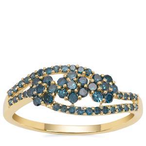 Blue Diamond Ring in 9K Gold 0.58ct