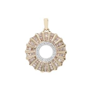 Roue De La Vie Champagne Diamond Pendant with White Diamond in 9K Gold 1ct