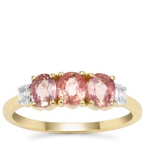 Padparadscha Sapphire Ring with White Zircon in 9K Gold 1.67cts