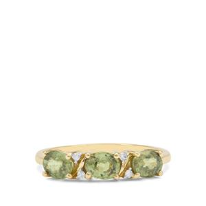 Namibian Demantoid Garnet Ring with Diamond in 9K Gold 1.40cts