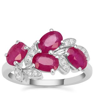 Kenyan Ruby Ring with White Zircon in Sterling Silver 2.65cts