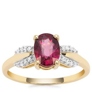 Malawi Garnet Ring with White Zircon in 9K Gold 1.70cts