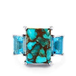 Egyptian Turquoise & Swiss Blue Topaz Sterling Silver Ring ATGW 10cts