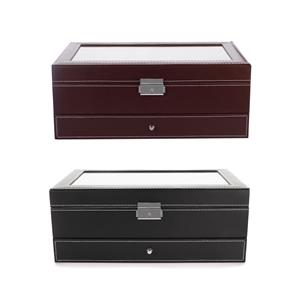 Double Layer PU Jewellery, Watch, Sunglasses Organiser Storage Box Case - Available in Black 01 / Brown 02