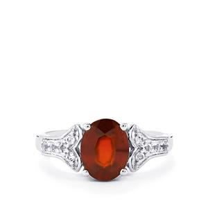 Ciana Hessonite Garnet & White Topaz Sterling Silver Ring ATGW 2.53cts