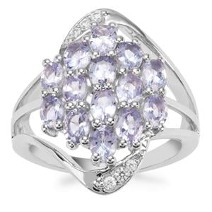 Tanzanite Ring with White Zircon in Sterling Silver 2.37cts