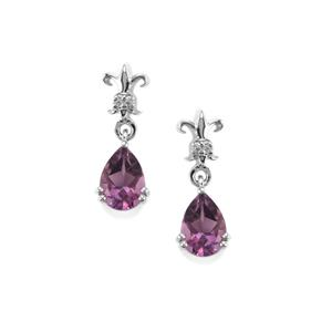 Kenyan Amethyst Earrings with White Topaz in Sterling Silver 2.33cts