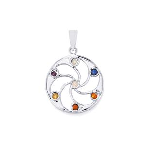 0.95ct Sterling Silver Gemstone Chakra Wheel Pendant