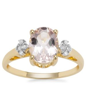Pink Morganite Ring with Diamond in 9K Gold 1.65cts