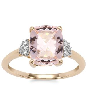 Alto Ligonha Morganite Ring with Diamond in 9K Gold 2.53cts