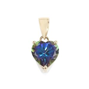 Mystic Blue Topaz Pendant in 10K Gold 4cts