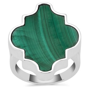 Malachite Ring in Sterling Silver 19.51cts