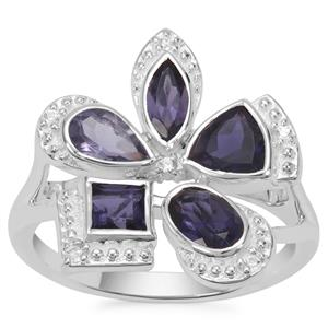 Bengal, Ajmer Iolite Ring with White Zircon in Sterling Silver 1.49cts