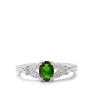 Chrome Diopside & White Zircon Sterling Silver Ring ATGW 0.84ct