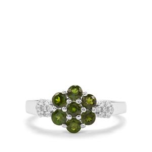 Chrome Diopside & White Zircon Sterling Silver Ring ATGW 1.15cts
