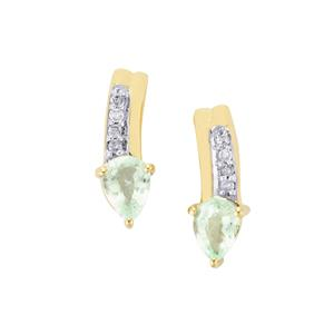 Paraiba Tourmaline Earrings with Diamond in 10k Gold 0.29cts