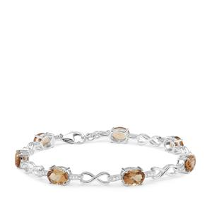 Scapolite Bracelet with White Zircon in Sterling Silver 7.83cts