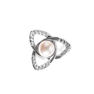 Kaori Cultured Pearl Pendant with White Topaz in Sterling Silver (6.5mm)