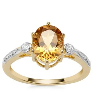 Mansa Beryl Ring with White Zircon in 9K Gold 1.83cts