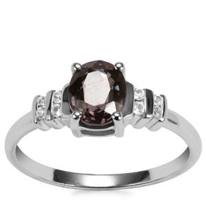 Burmese Multi-Color Spinel Ring with White Zircon in Sterling Silver 1.53cts