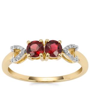 Burmese Red Spinel Ring with Diamond in 10K Gold 0.61cts