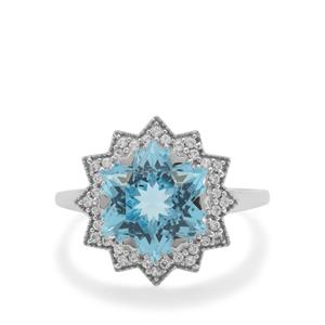 Wobito Snowflake Cut Sky Blue Topaz Ring with White Zircon in 9K White Gold 5.85cts