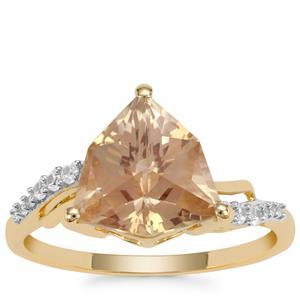 Alpine Cut Serenite Ring with White Zircon in 9K Gold 2.92cts