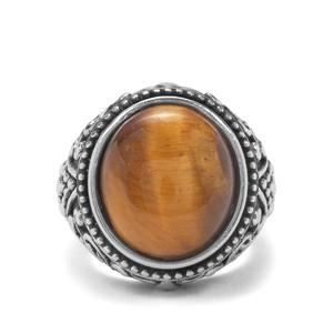 10.93ct Tiger's Eye Pewter Ring