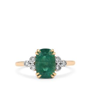 Zambian Emerald Ring with Diamond in 18K Gold 2.47cts