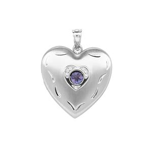 'The Beating Heart' Tanzanite & White Zircon Sterling Silver Locket ATGW 0.34cts