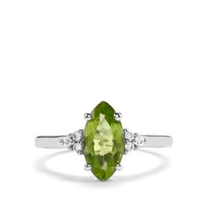 Changbai Peridot & White Topaz Sterling Silver Ring ATGW 1.87cts