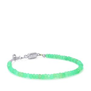 Chrysoprase Graduated Bead Bracelet with Magnetic Lock in Sterling Silver 21cts