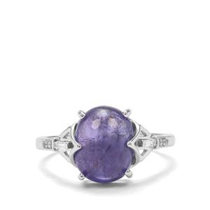 Tanzanite & White Zircon 9K White Gold Ring ATGW 5cts