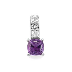 Moroccan Amethyst Pendant with White Topaz in Sterling Silver 1.15cts